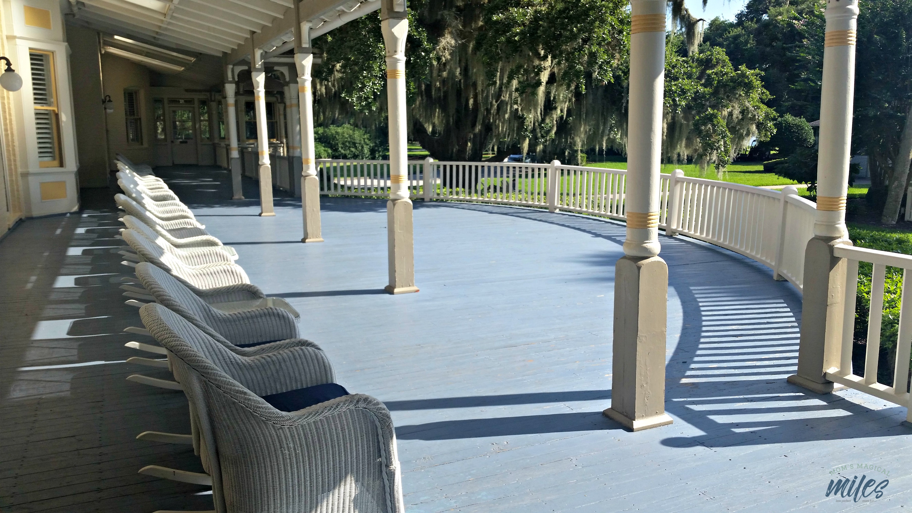 The front porch at the jekyll island club is the perfect place to relax and appreciate