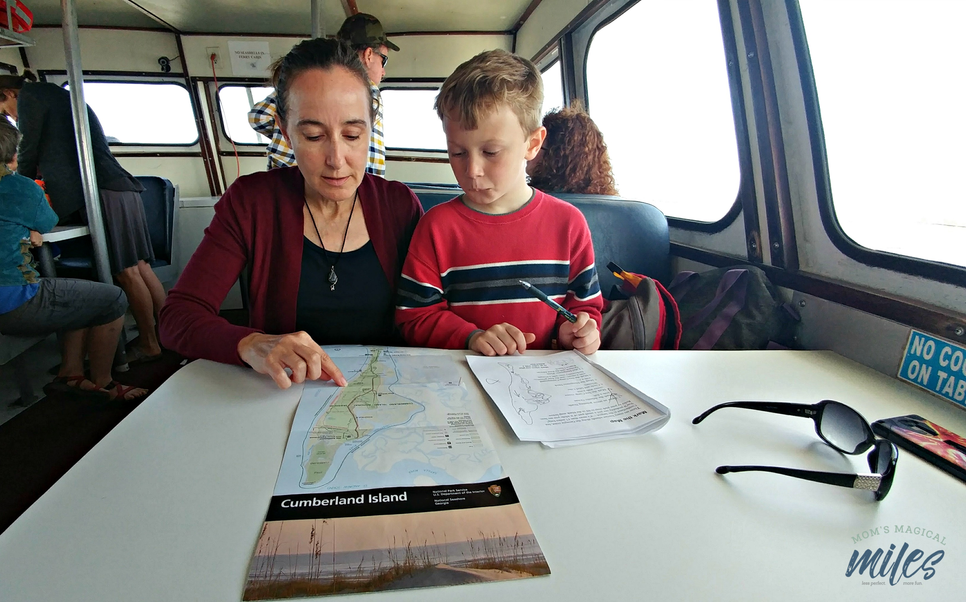 The cabin of the Cumberland Island Ferry has comfortable spots to relax and enjoy the ride!