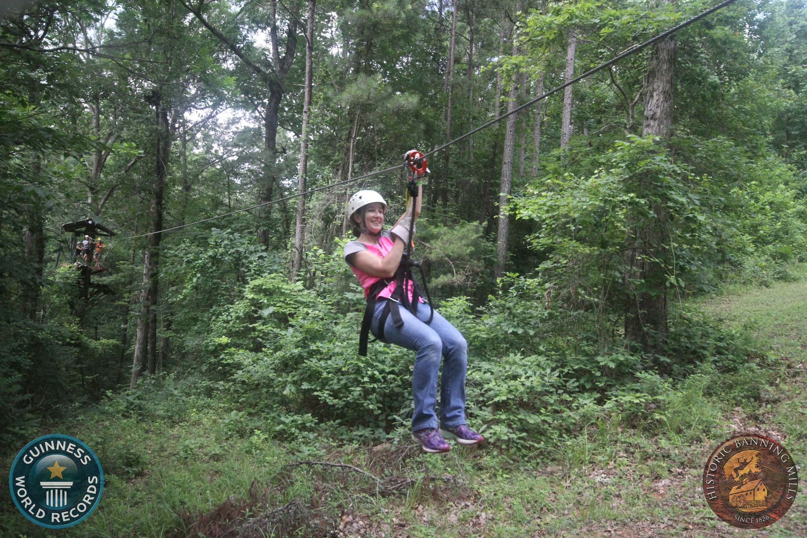 Trying out the Level 1 zip line at Historic Banning Mills!
