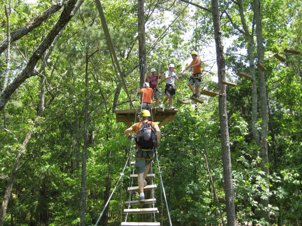 The aerial course at Historic Banning Mills includes fun sky bridges in addition to zip lines.
