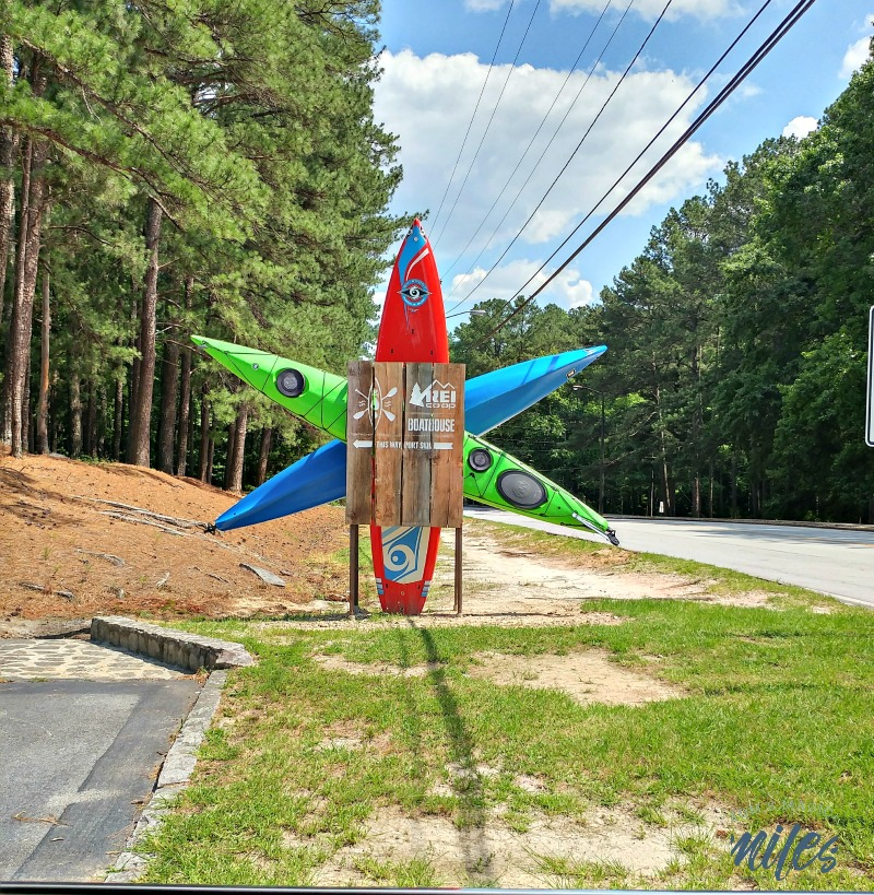 Look for this unique sign for the REI Boathouse at Stone Mountain Park!