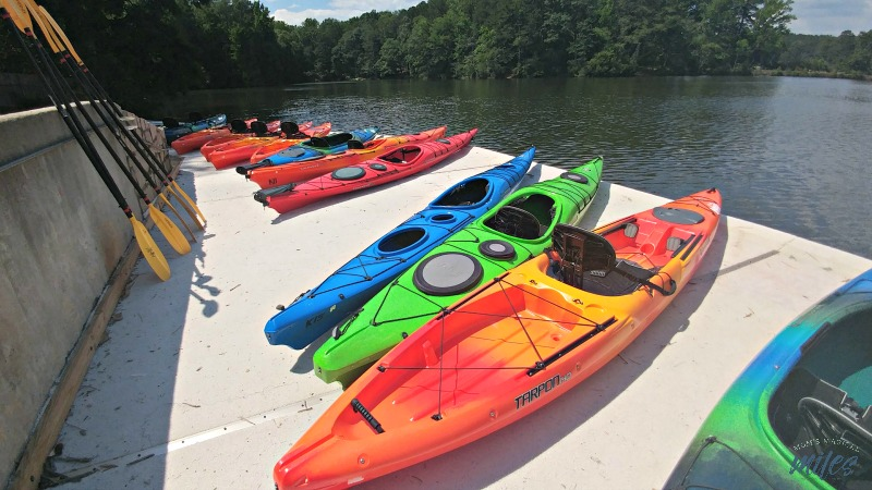 The REI Boathouse at Stone Mountain Park offers sit on top and sit inside kayaks for rental.