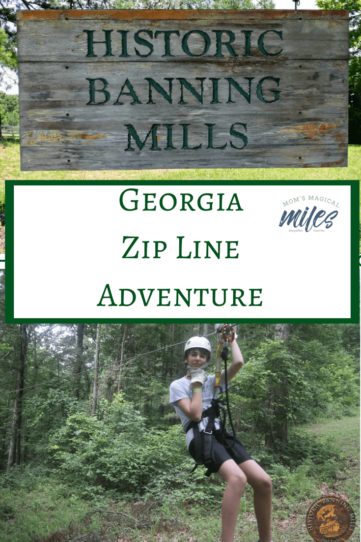 Families with tweens and teens will love the adventure of a zip line at Historic Banning Mills in west Georgia!  There are lots of options for your family's level of ability - and bravery!