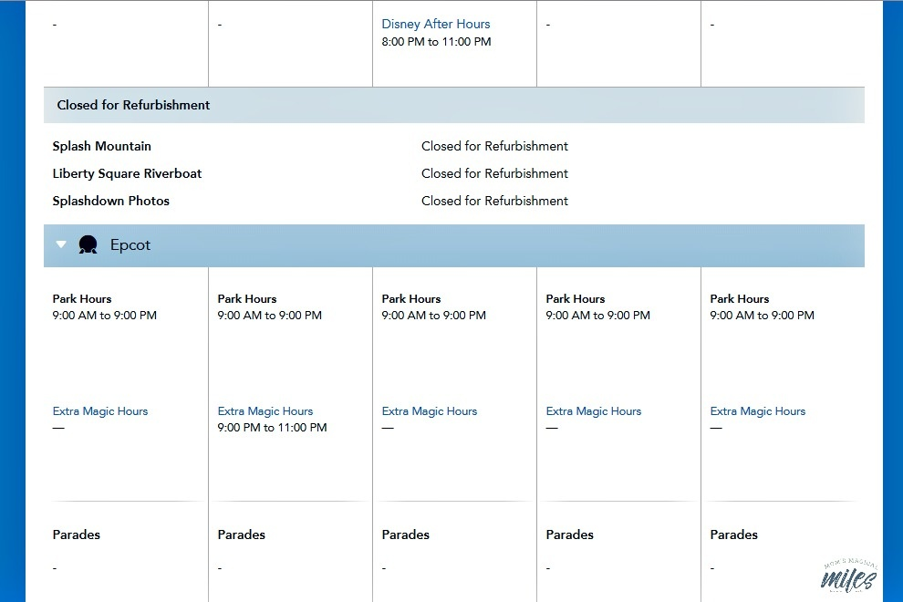 Looking for Disney Planning tips? Check out the rides closed for refurbishment on the park hours page.