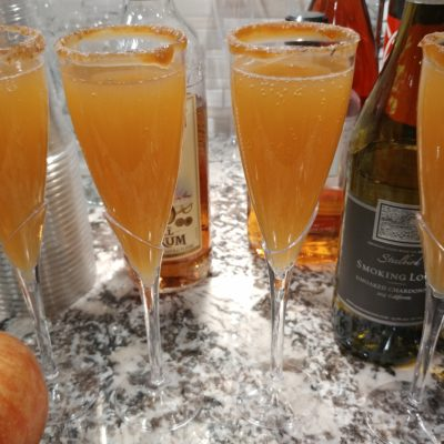 I love mimosas. I stumbled on the recipe for caramel apple mimosas and they were a hit!