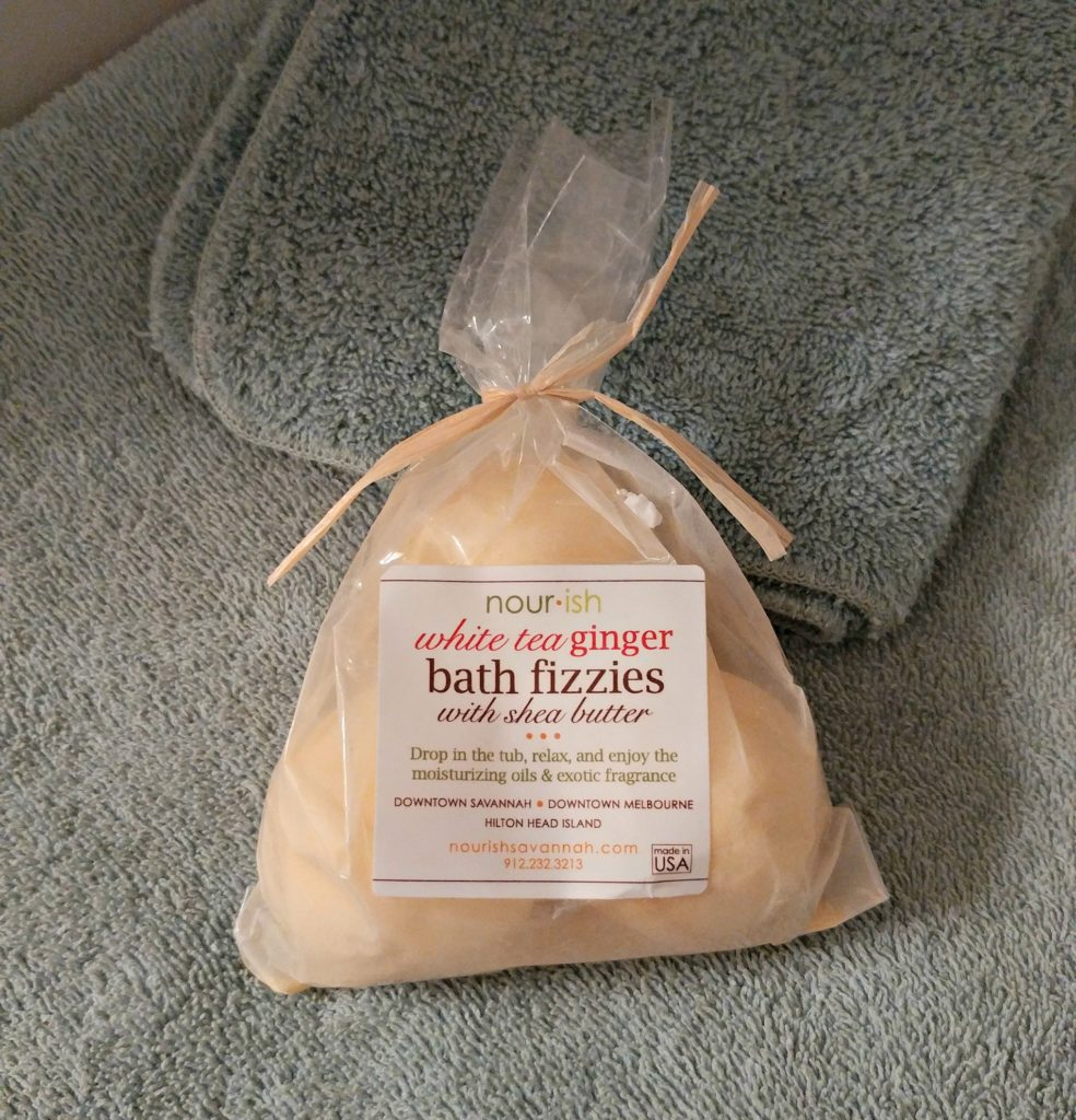 Nourish Savannah bath fizzies come in all manner of scents and colors.