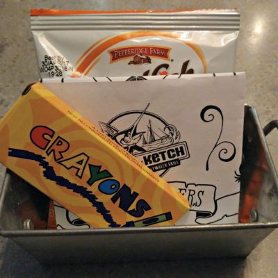 I was so pleasantly surprised when the Big Ketch kid's menu was brought to the table! A pack of Goldfish to tide the kids over while waiting for food. Genius!