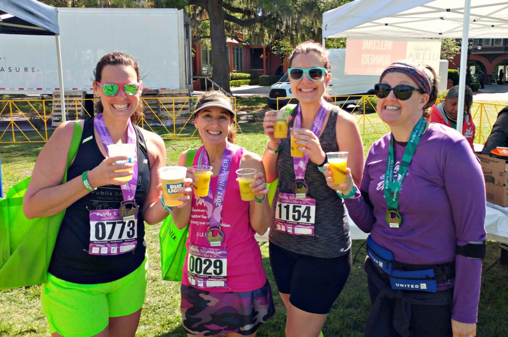 Celebrating with mimosas and beer after the Publix Savannah Half Marathon & 5K