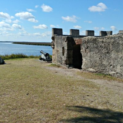 One of the few structures still standing, the tabby fort of Fort Frederica on St. Simons Island looks out over a gorgeous view of the Savannah River.