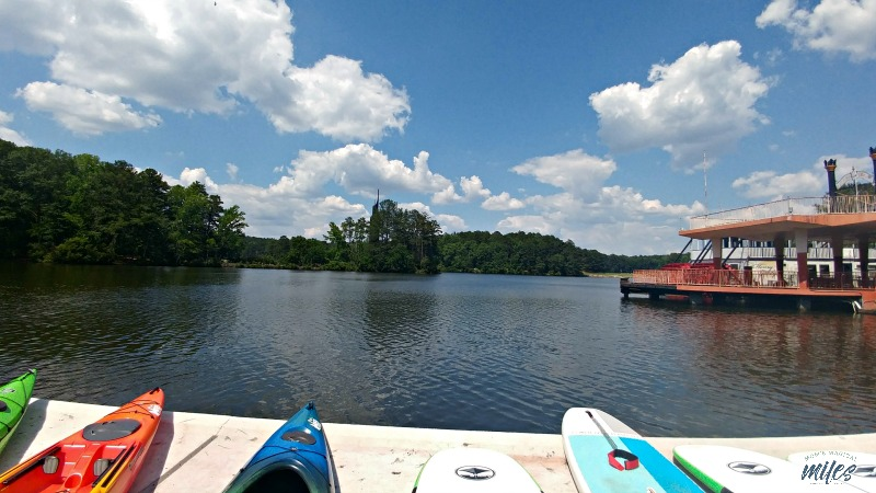 The view from the REI Boathouse dock at Stone Mountain Park.