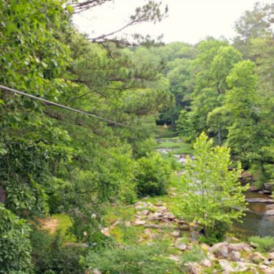 Be sure to hit the level 3 aerial zipline course at Historic Banning Mills for views like this!