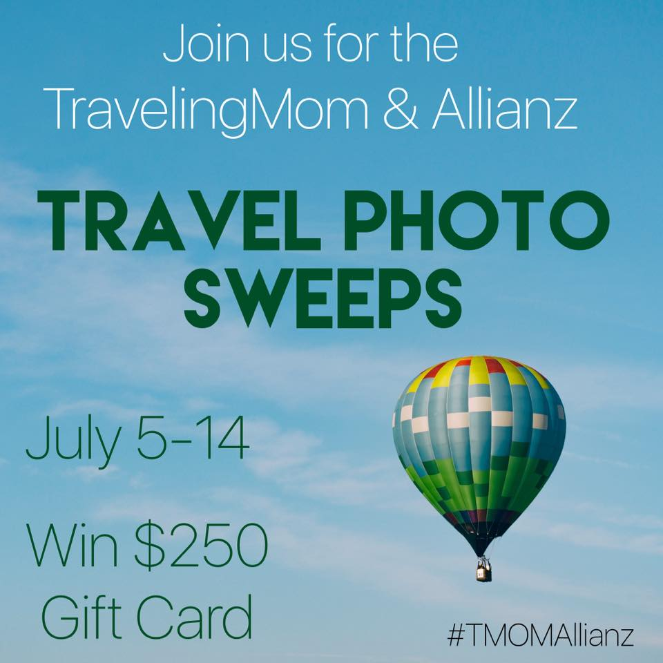 Enter the TravelingMom and Allianz Instagram Photo Sweeps!  Post your favorite travel picture and best travel tip on Instagram now until July 14th!  Be sure to use #TMOMAllianz to be entered to win a $250 gift card!
