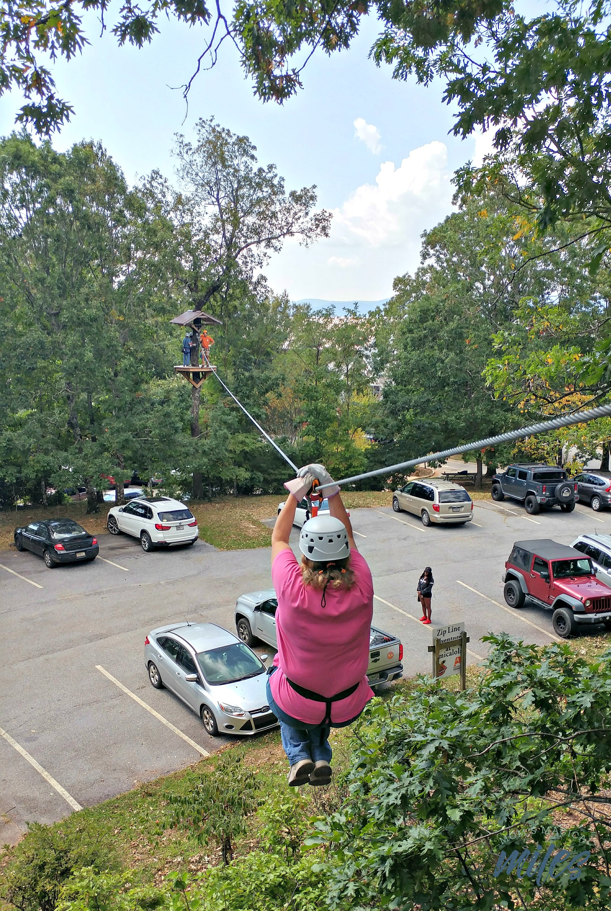 The Amicalola Falls State Park Zipline experience starts you out easy on Level 1.