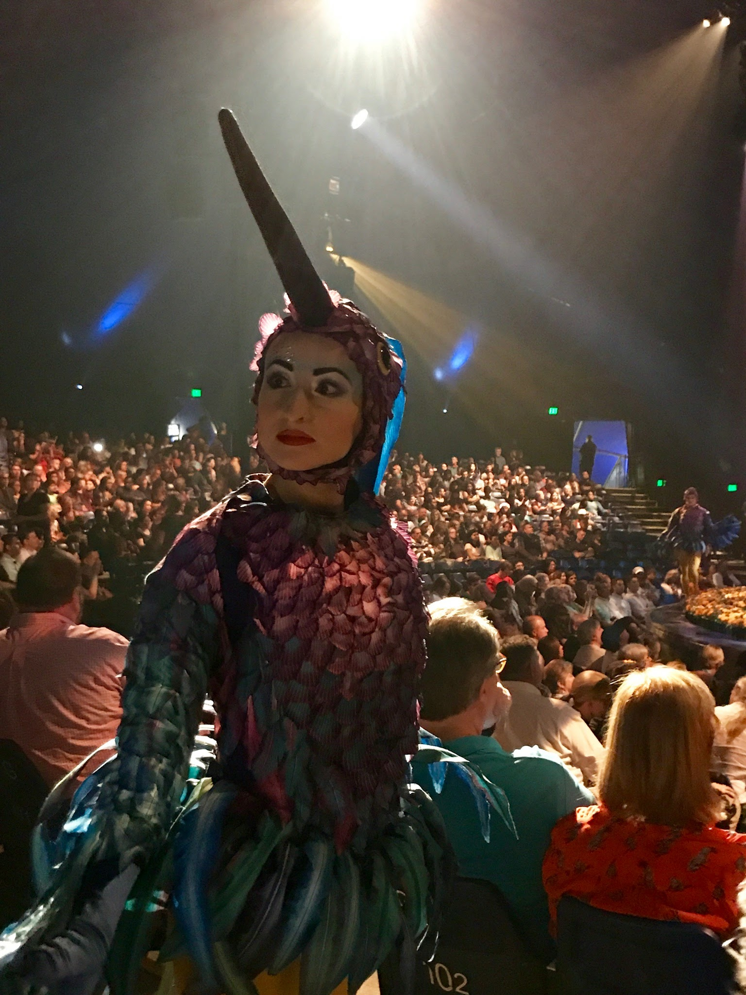 Oftne, the Cirque-du-Soleil LUZIA performers can be found wandering in the audience!