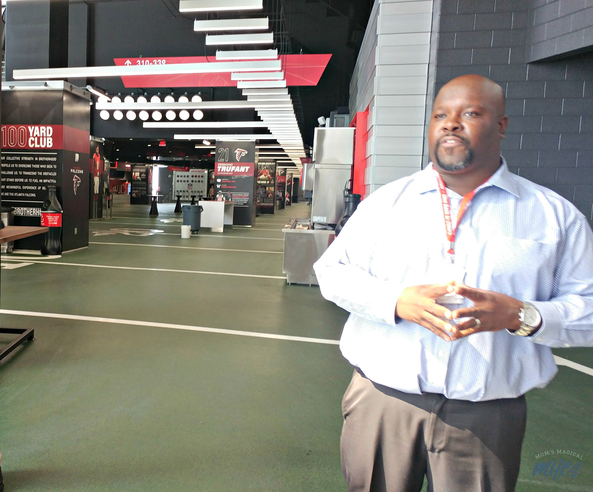 The 100 Yard Club is a fun fan area in the new Mercedes-Benz Stadium.