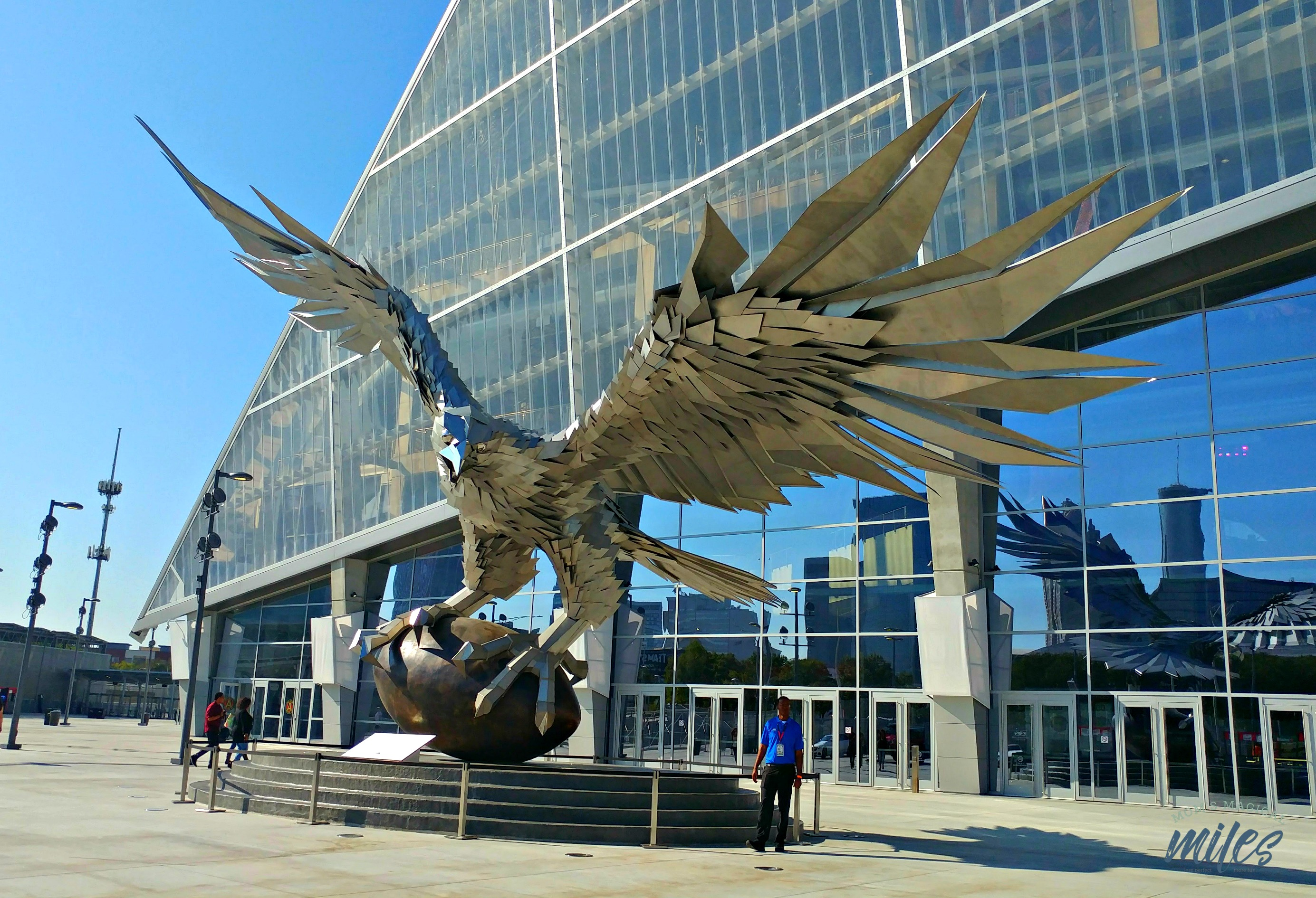 Atlanta Falcon sculpture outside the stadium