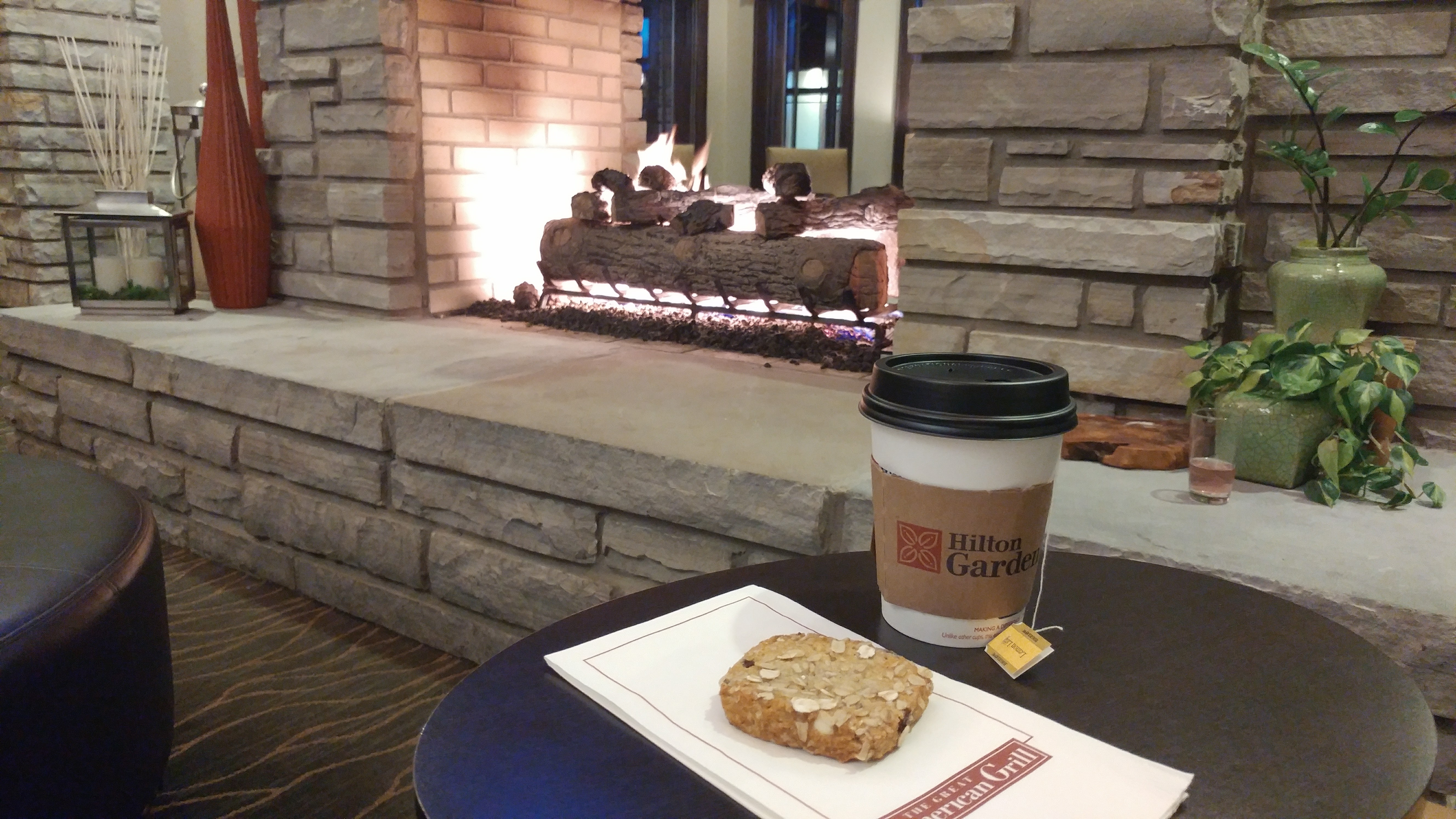 The Hilton Garden Inn in Gatlinburg, TN offered the perfect way to spend a chilly evening - with complimentary snacks and beverages by a cozy fire.