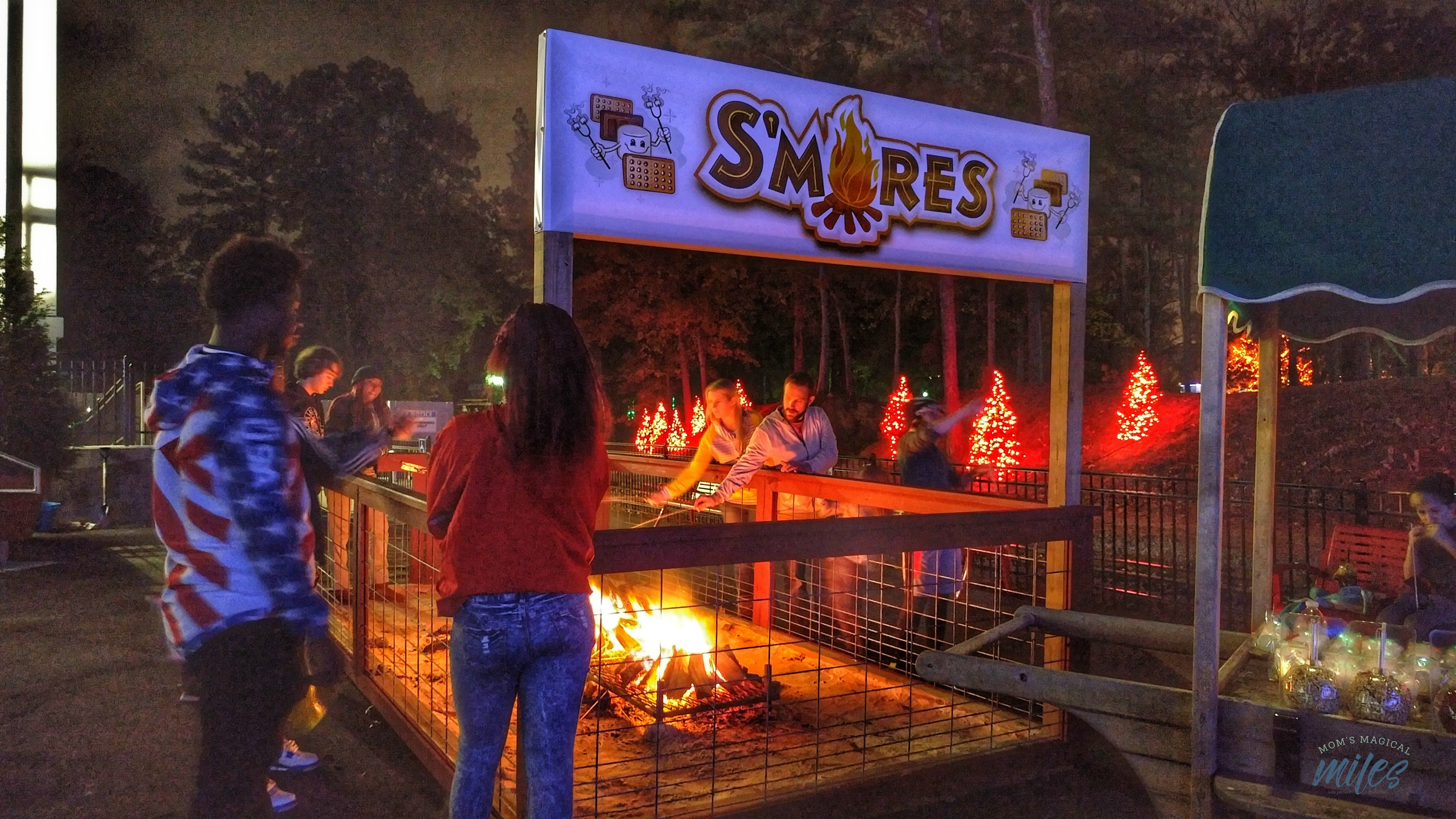 There is all kinds of winter family fun to be had at Six Flags Holiday in the Park! The whole family can gather round the fire and make s'mores!
