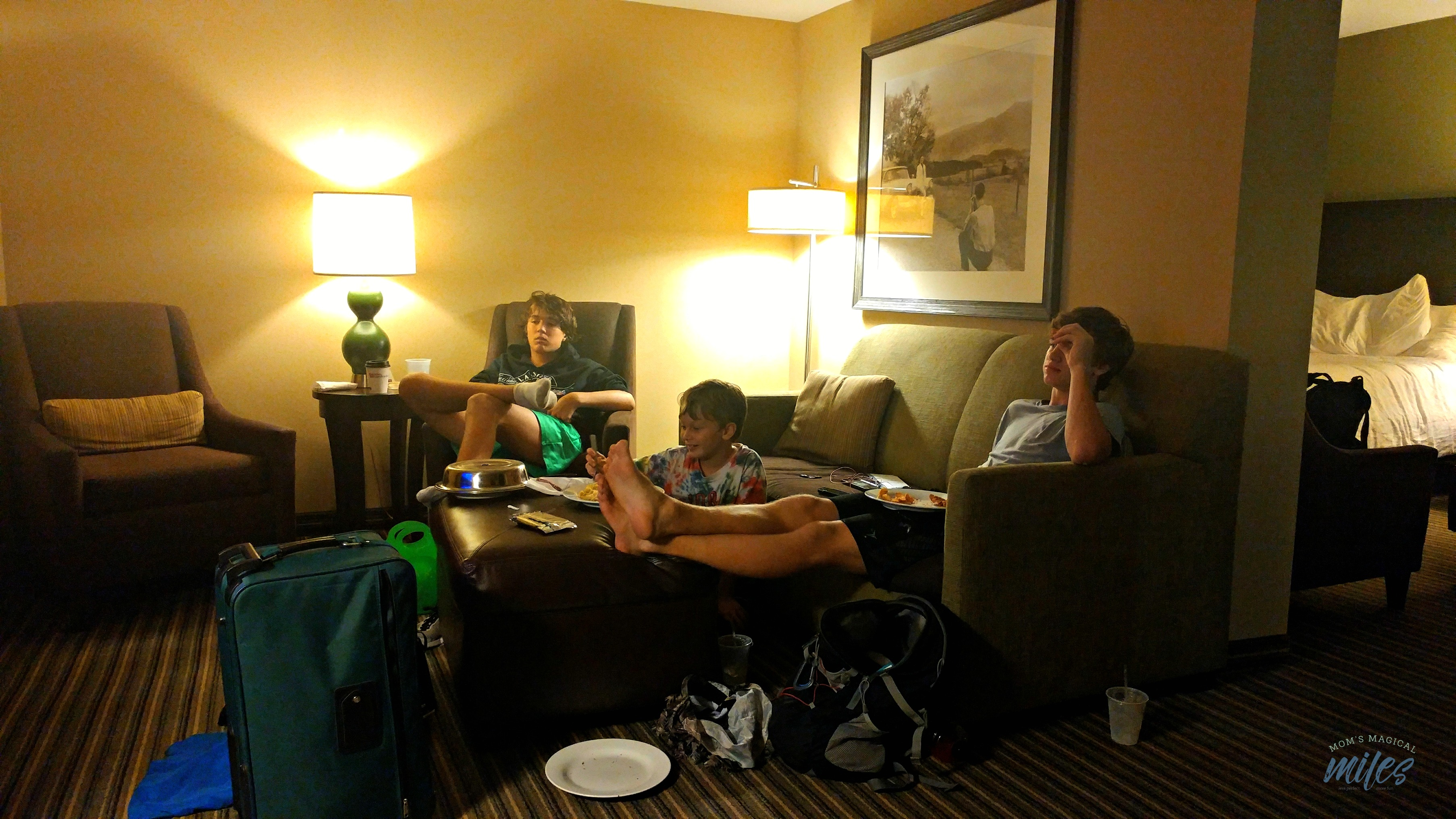 We found plenty of living space for four people in our room at the Hilton Garden Inn in Gatlinburg, TN!