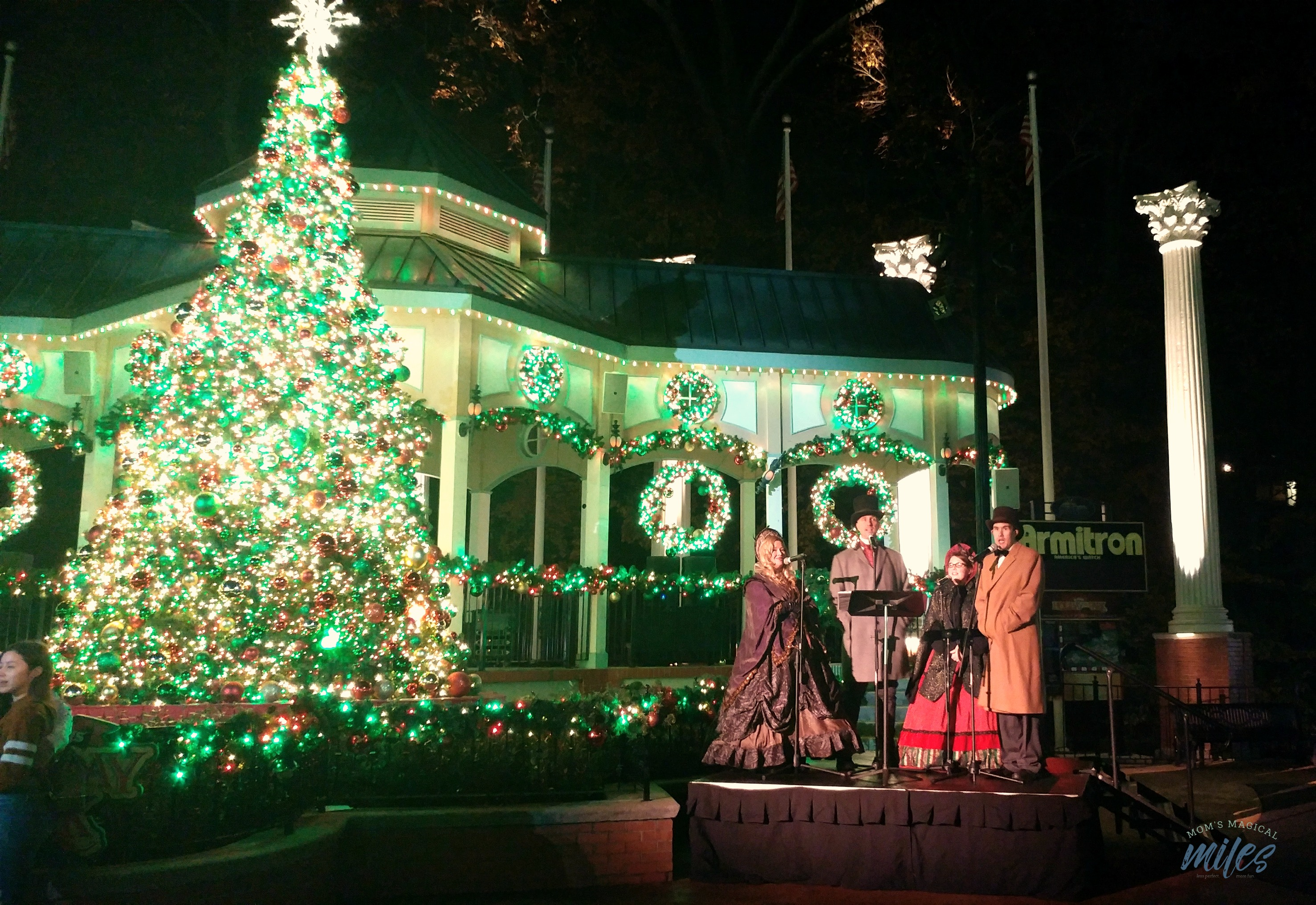 The entertainment at Six Flags Holiday in the Park includes carolers, shows and more!