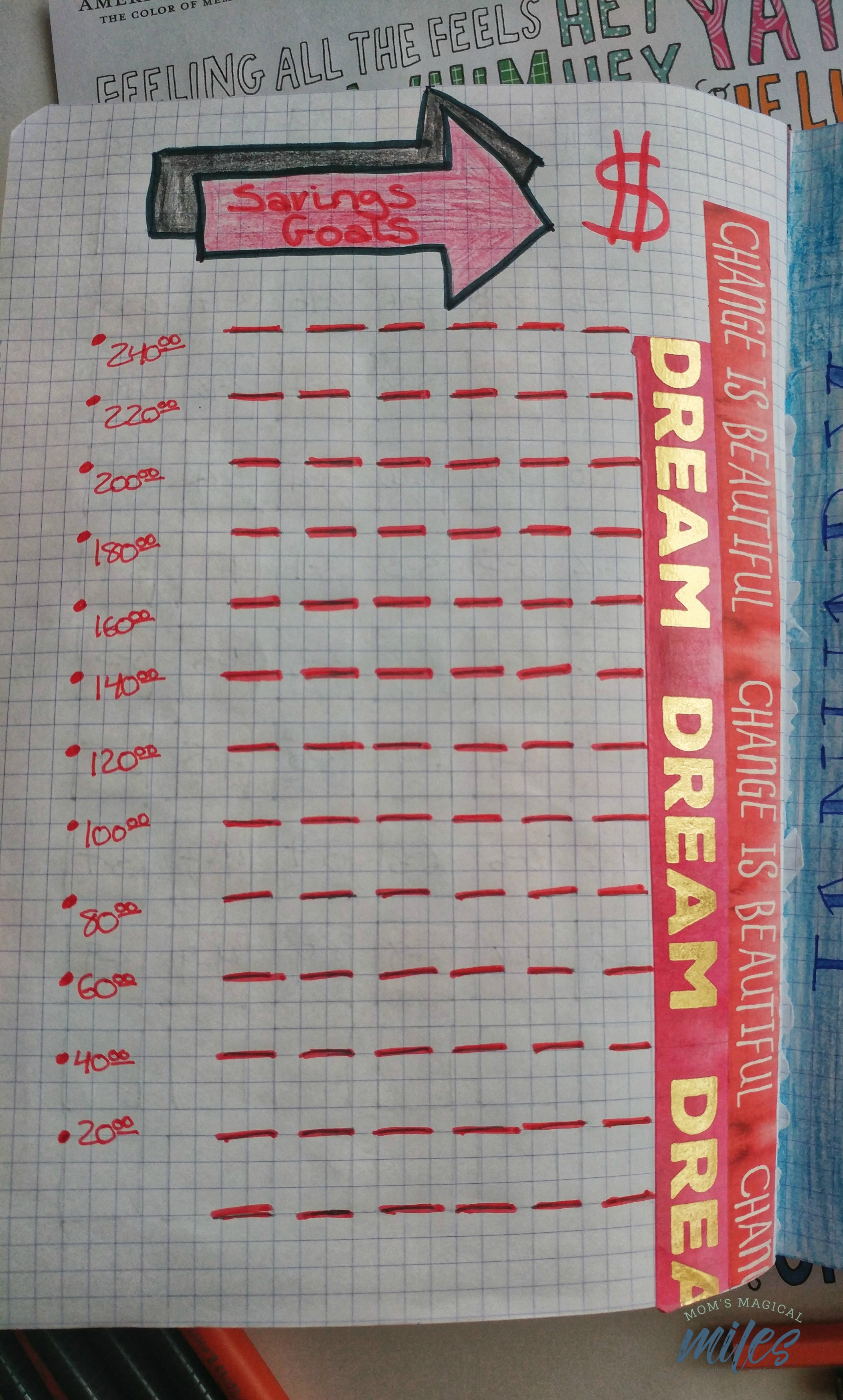 Dream up a goal, then dream up a page to track your savings in your beginner bullet journal!