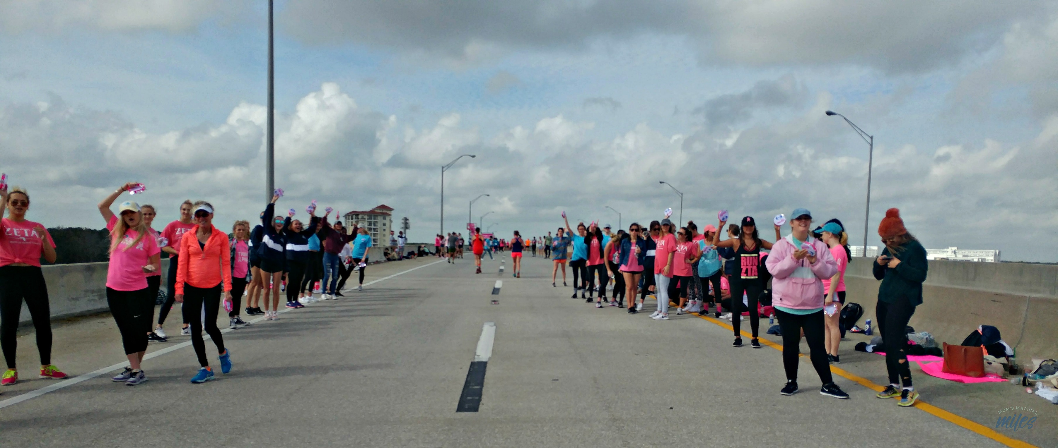 The only hill during the Donna Half in Jacksonville, FL offers some great cheerleaders!